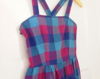 VTG Plaid Picnic Dress S