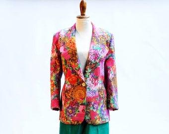 Vintage Jacket, Flower Print Jacket, Pattern Jacket, Women's Jacket, Made in Canada, Floral Jacket, Jacket for Women, Retro Jacket, Elegant