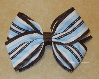 "Highway Stripes Hair Bow - 4"" Blue and Brown Boutique RoseyBow® - Medium Sized Striped Boutique Bow in Blue, Brown and White Stripes"