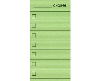 SKINNY Green Fill In Chore Chart Magnet.  Wet Erase Marker Included.