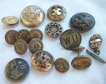 Buttons ~ Military ~ Gargoyle / Serpent / Eagle  ~ Old W U Western Union ~ Mix Of Antique to Vintage LOT ~ Beast /Medieval