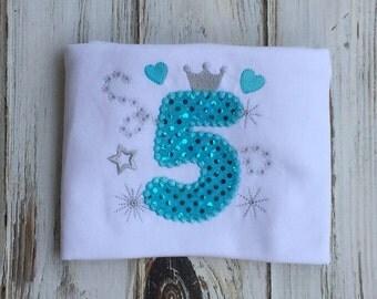 5th Birthday shirt, girls birthday shirt, girls 5th birthday shirt, sparkly birthday shirt, boutique birthday shirt, princess birthday