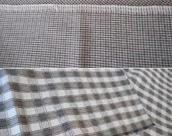 different fabric pieces gray colors. one large plaid pattern checkered and one gray small checkered piece. 15 EACH