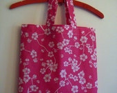My summer days -Tote bag, durable oilcloth tote, grochery tote, shopping/ library bag, help bag, pink white flowers, Handmade in FINLAND