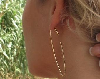 Narrow Hoop Earrings, Thin Open Hoops, Elegant Jewelry, Marquise Earrings - Narrow Earrings - Modern Earrings - Statement Long Earrings
