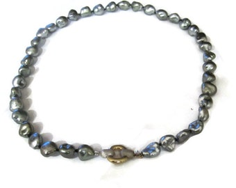 Tahitian Pearl Keshi Necklace, Black Keshi  Pearl  Necklace. South Sea Pearl Strand   Artisan Handmade  by Sheri Beryl
