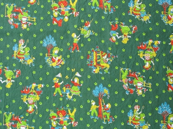 Vintage cotton quilting fabric juvenile fabric children for Childrens quilt fabric