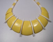Bold and Bright 80s Yellow Necklace or Collar, White Inserts