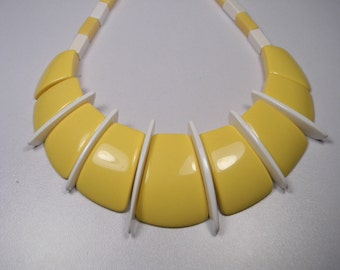80s Bold Statement Yellow Necklace or Collar, White Inserts