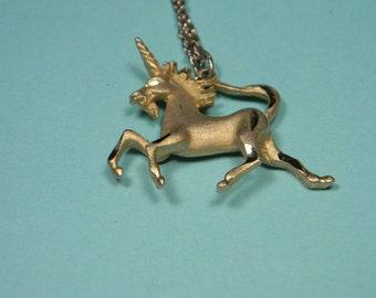 Unicorn Necklace or Choker, Gold Tone, Mythology, Fantasy