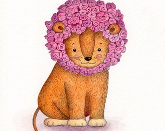 Nursery Art Print, Lion, King of Roses, Kid's Art, Baby Gift, Watercolour Print, Nursery Decor, Modern Nursery, Lion Art, Wall Art