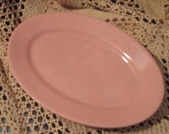 Vintage Wellsville China Restaurant Ware Pink Platter, Flamingo Mark
