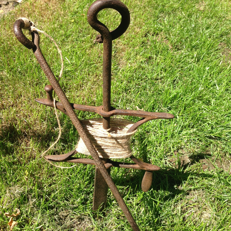 Antique Garden: Antique Garden Line And Pin Garden Row Marker Forged Iron