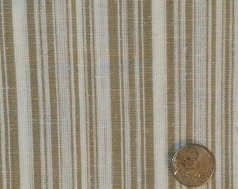 Cotton Fabric / Brown and White Striped Cotton Fabric / Striped Cotton Fabric / Brown Cotton Fabric / Quilting Fabric /  1 Yard