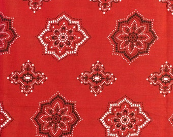 Vintage Red Western Polyester Fabric