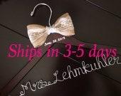 3 DAYS SALE--Burlap Wedding hanger, custom wire hanger, bridal hanger, bride gift, bridesmaids gift, custom made hanger
