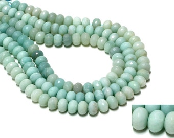 "GU-8006-2 - Amazonite Beads - Faceted Rondelle Beads - 6x10mm Gemstone Beads - 16"" Strand"