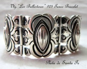 """Los Ballesteros  VTG.1930's  Pre Eagle 925 Coffee Bean Panel Bracelet w/Safety Chain """"One of the Earlier Pieces""""!!"""
