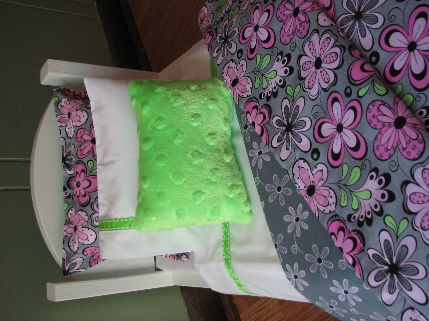 Pink gray lime green flower bedding set 18 by madigracedesigns