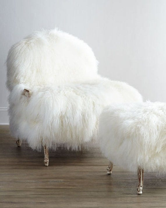 Mongolian Lamb Fur Chair Sheepskin And Ottoman Set