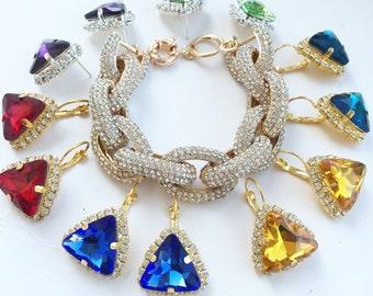 Swarovski crystal Triangle stud earrings - 18k gold plated post earrings real swarovski rhinestones