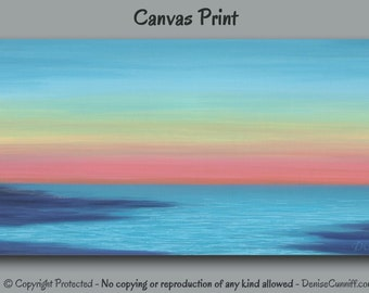 Beach decor, Sunset painting - Canvas art print, Abstract seascape ocean, Coral pink, Blue Teal Navy, Horizon, Coastal Wall art, Large Wide