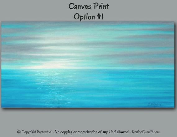 Beach Decor Canvas Art Gray Teal Home Decor Sunset Seascape