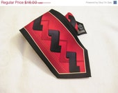 75% OFF Closing SALE Vintage Tie by Forte Necktie Scarlett Red Black Hand Made 100 Percent Silk Tie Unique Graphics Tribal Z Basket Weave