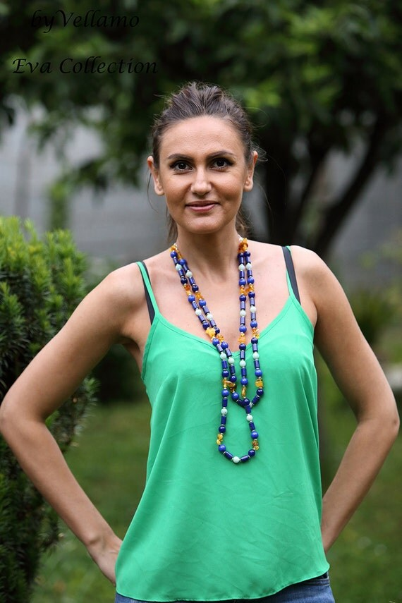 Long chunky necklace, denim blue lapis lazuli, natural honey Baltic amber, aquamarine, jade stones, layered summer colorful necklace