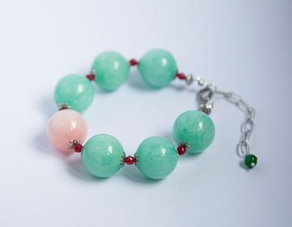 Large bold stone bracelet, huge 20mm round mint green jade, soft pink jade, adjustable extender chain, beautiful pastel colored large stones