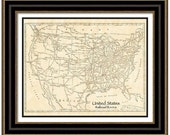 MAP of NORTH AMERICA Railroad Routes in a Vintage Grunge Weathered Antique style