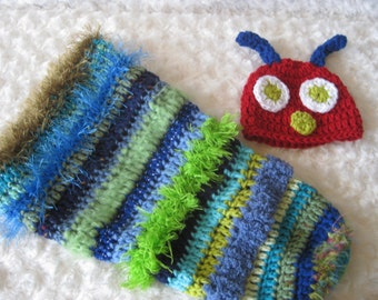 Crochet Baby Hat Caterpillar and cocoon Photo Prop Diaper Cover Floppy Ear Outfit