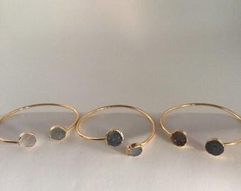 Double Druzy Quartz Gold Bangle Bracelet