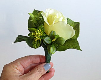 Faux Wedding Boutonniere - Anniversary Boutonniere - Prom Boutonniere - Father's Day Boutonniere - Pale Yellow Rose
