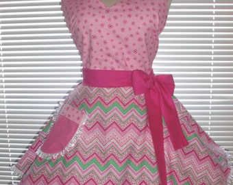 Retro Pinup Style Apron Flirty Circular Skirt Fuchsia Pink on Pink and Green Chevron