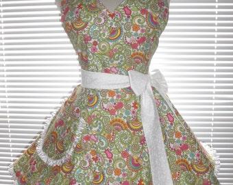 Retro Style Apron Flirty Circular Skirt Rainbows and Flowers