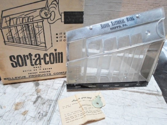 Coin bank bank advertising 1970s coin sorter orig key - Coin sorting piggy bank ...