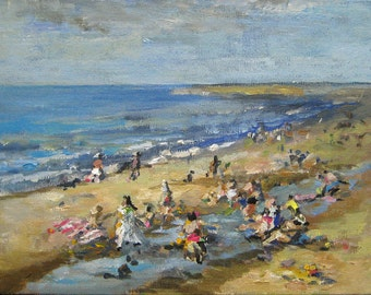 Beach Landscape, Seascape, Acrylic on a canvas board, Abstract - figurative, small sized painting