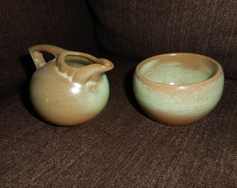 Frankoma, Pottery, Vintage, Ball Creamer, Miniature, Sugar Bowl, Miniature, Prairie Green, Rustic, Serveware, Mid Century