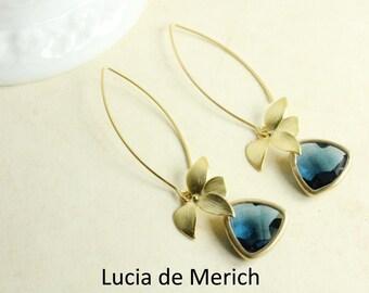 Statement Dangle Earrings / orchid jewelry / Sapphire earrings Something Blue Long earrings / Flower / best friend gift / Bridesmaids gift