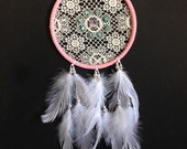 Dream Catcher - Pink with Vintage lace, amethyst, turquoise, and white feathers!
