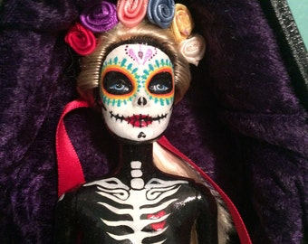 Hand Painted, One of a kind, Day of the dead Barbie