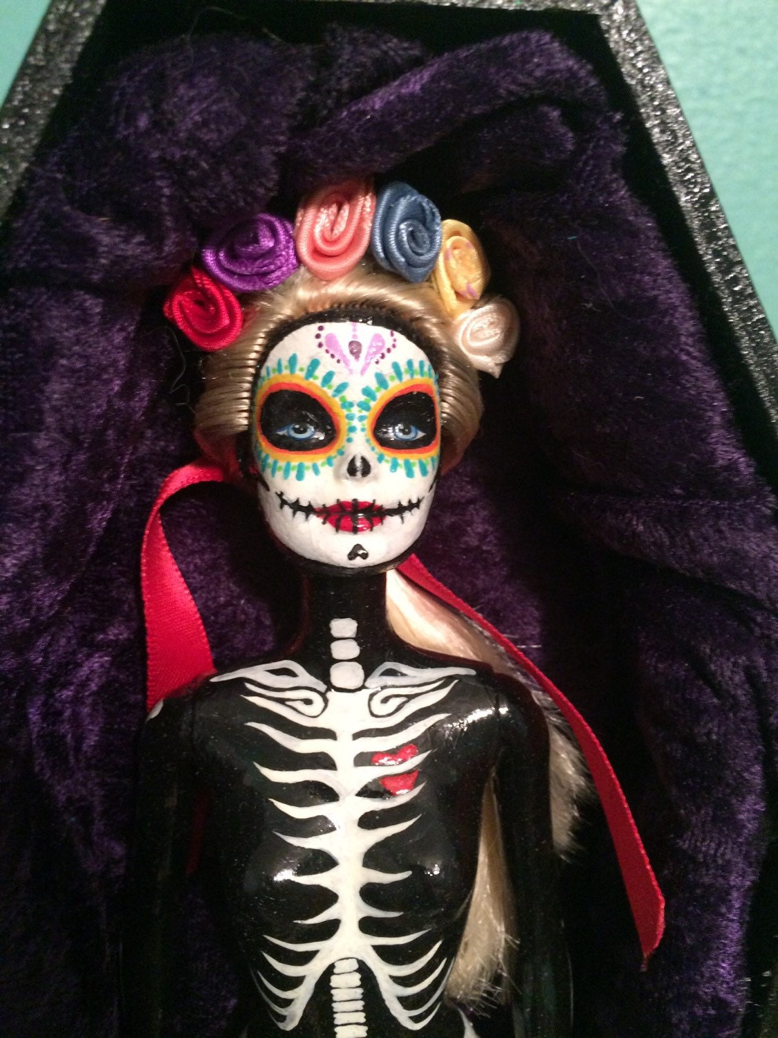 Day Of The Dead Hand Tattoo: Hand Painted One Of A Kind Day Of The Dead Barbie