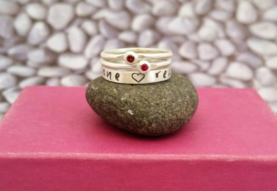 Mother's Birthstone and Name Ring Stacking Set in Sterling Silver