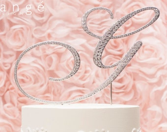 A-Z Initial Silver METAL Wedding G Cake Toppers, Fine Set-In Rhinestones in any letter A B C D E F G H I J K L M N O P Q R S T U V W X Y Z