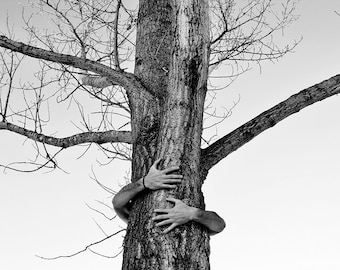 Tree Hugger 13x19 Earth Child Indigo Save The Planet Hippie Stand For What You Believe Self Portrait Black and White Fine Art Print Shop