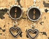 """STEAMPUNK Earrings Typewriter Keys """"Immeasurable Love""""  Rare"""