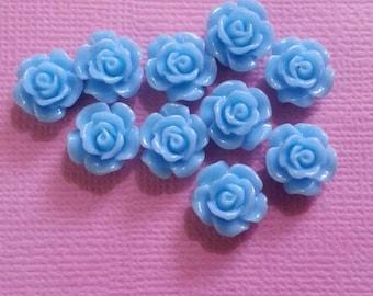 10 Blue Mini Rose Cabachon Flatbacks