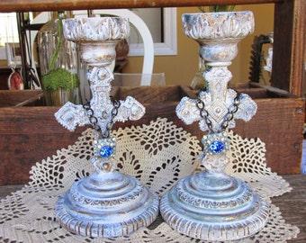 Shabby French Candleholders, Upcycled Candlesticks, White Candleholders, Handpainted white/gold/turquoise with blue rhinestone