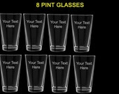 8 pint glasses wedding favors gift customized personalized groomsman gifts party glasses